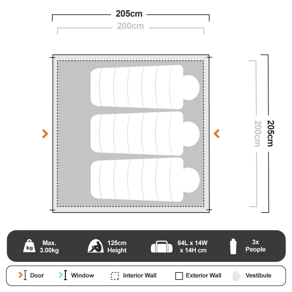 Tasman 3P Dome Tent - Floorplan