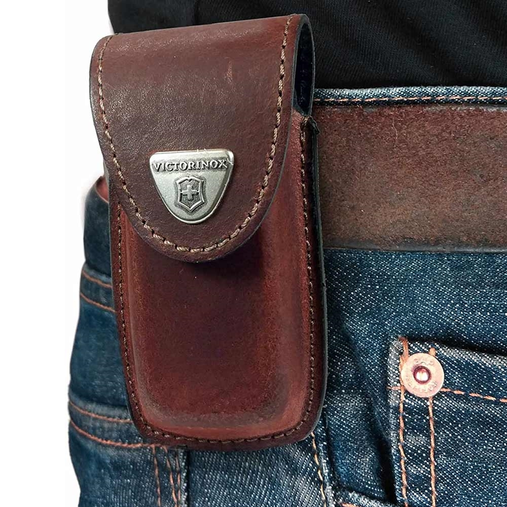Victorinox Leather Sheath 5-8 Layers Brown - Belt Clip
