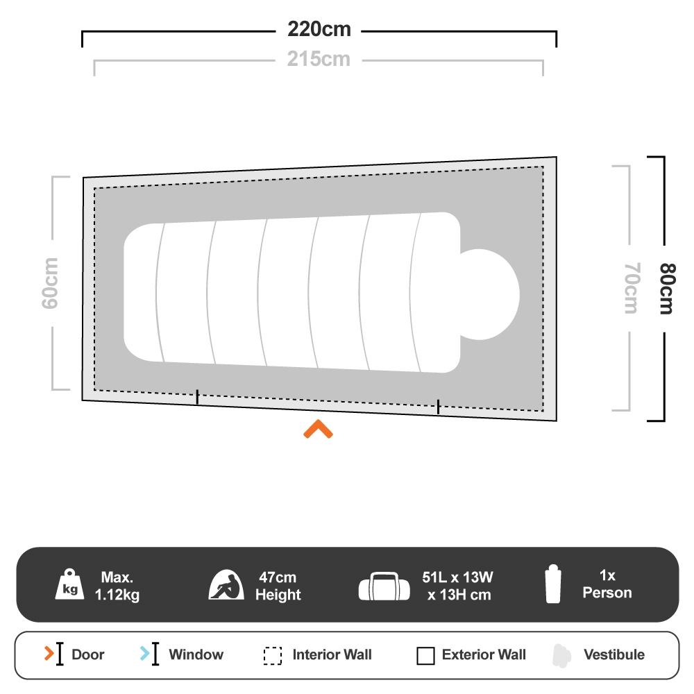 Swift Pitch Bivy Tent - Floorplan