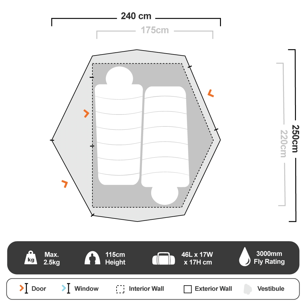 Nevis 300 3P Hiking Tent - Floorplan