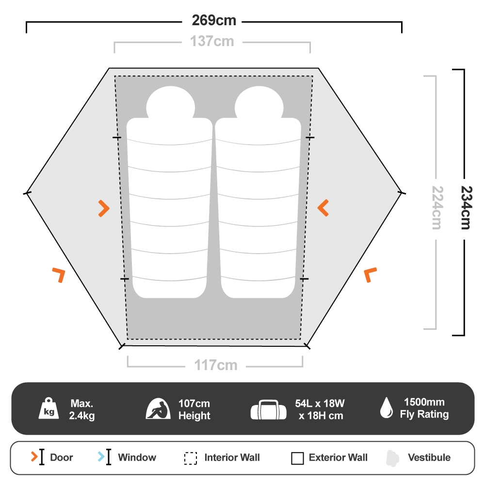Tungsten 2P Hiking Tent - Floorplan