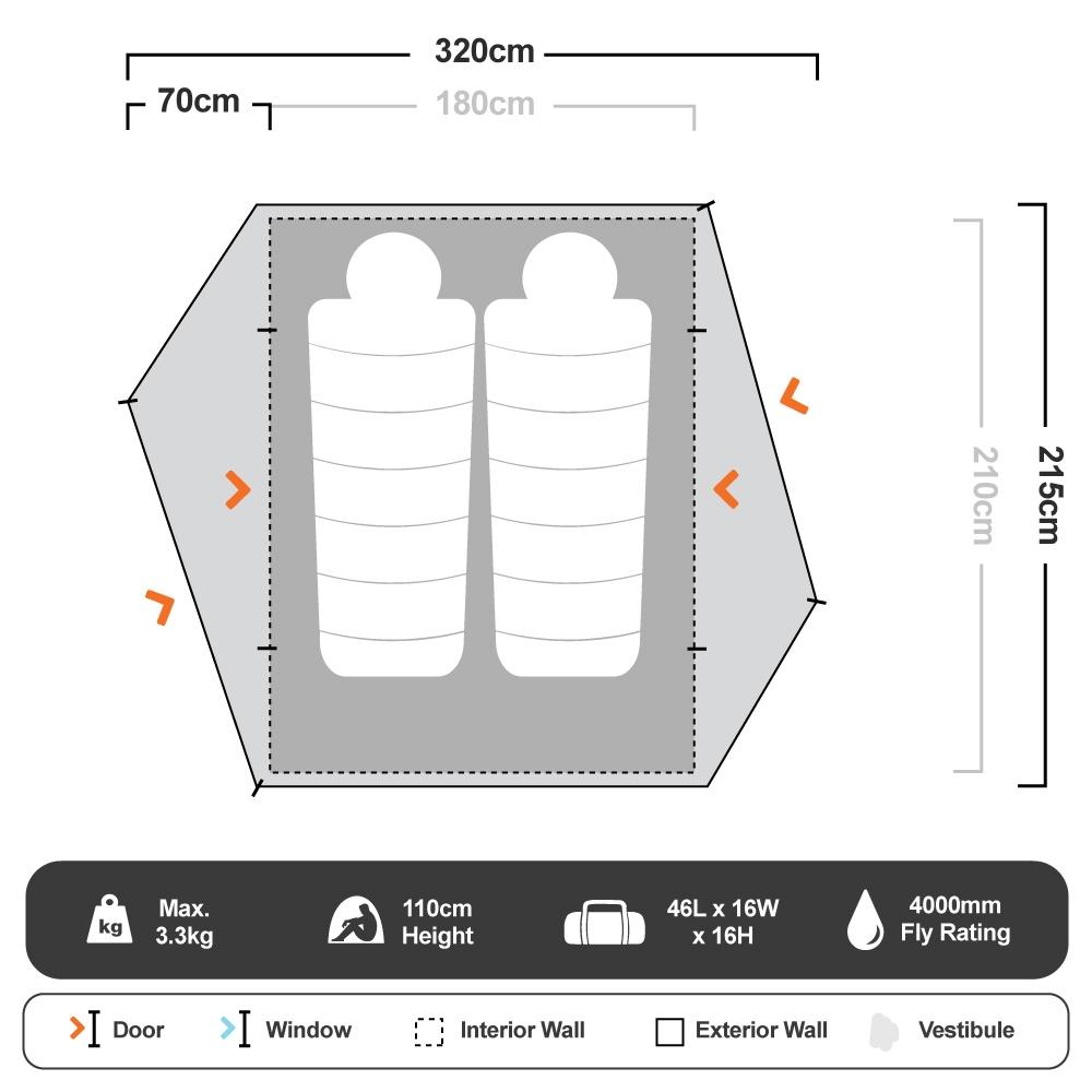 Spartan 3 Hiking Tent - Floorplan