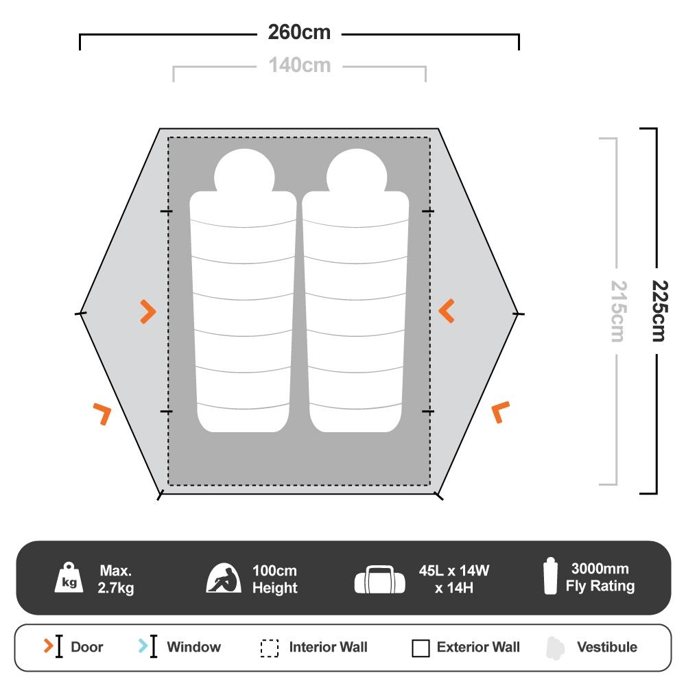 Pro Hiker 2 Tent - Floorplan