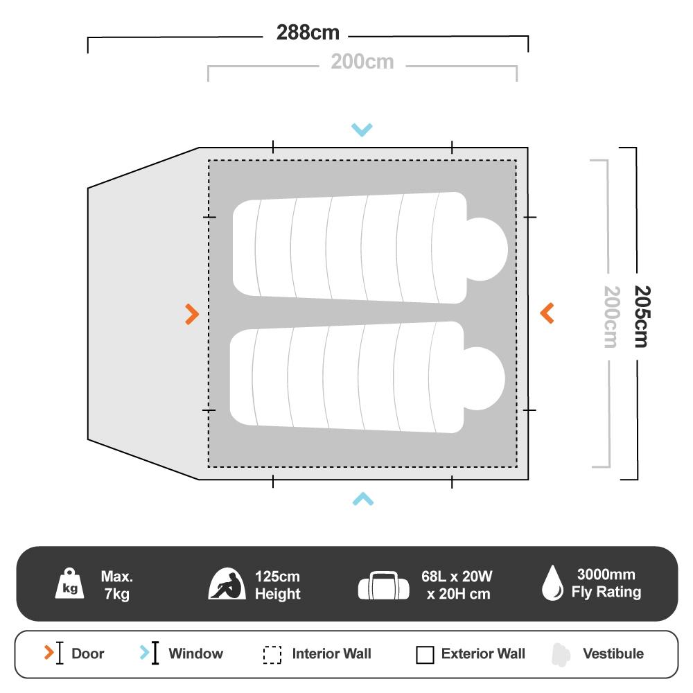Escape Plus 3E Dome Tent - Floorplan