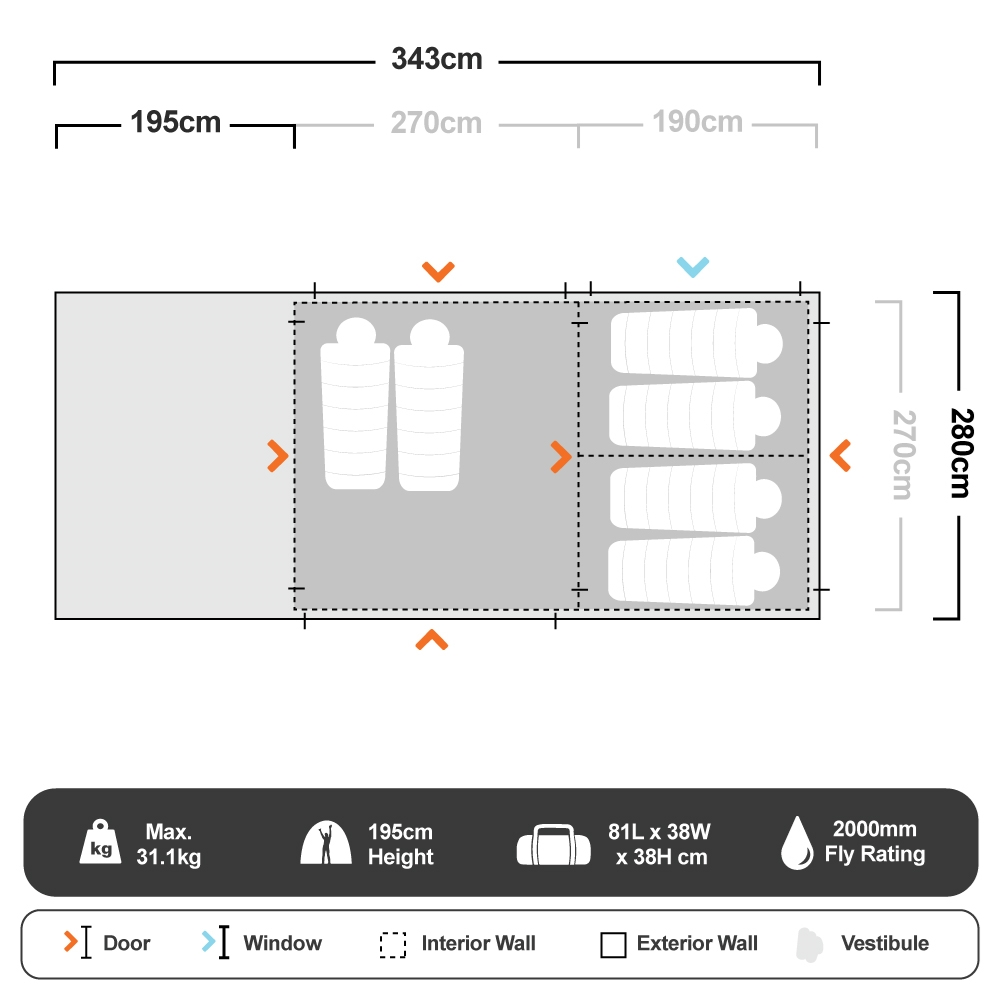 Aria Elite 2 Tent - Floorplan