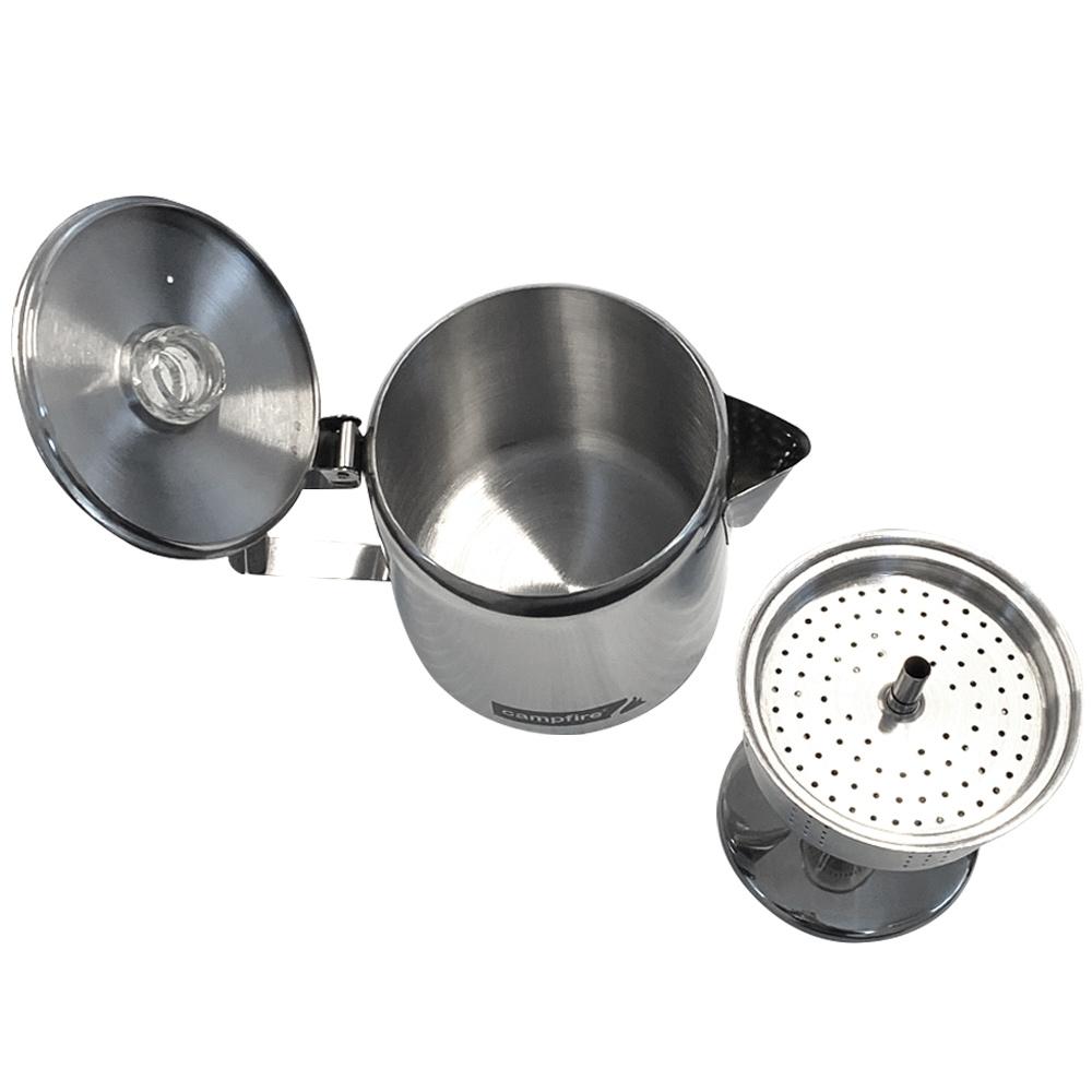 Campfire Coffee Percolator 5 Cup - Percolator next to kettle