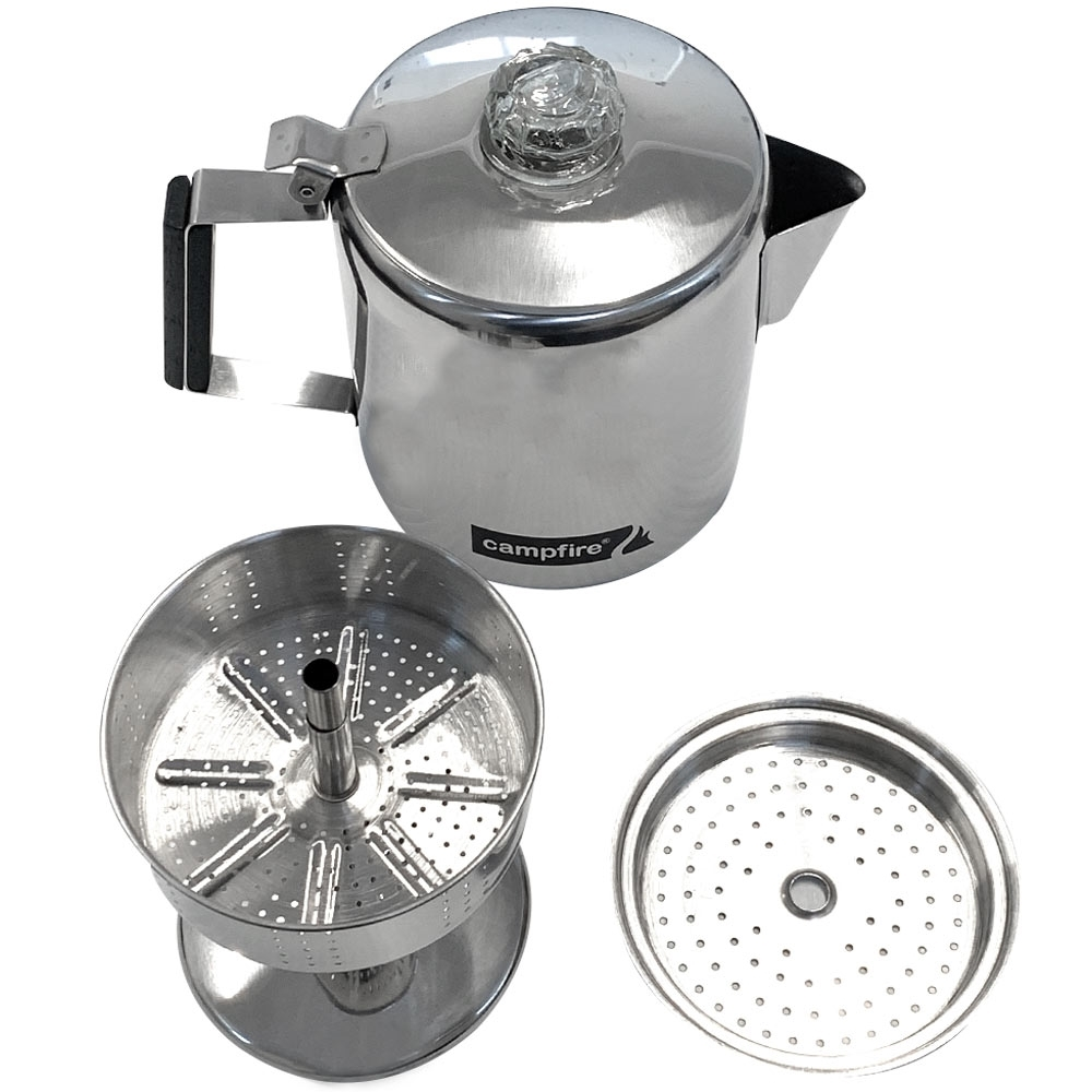 Campfire Coffee Percolator 5 Cup - Percolator next to kettle