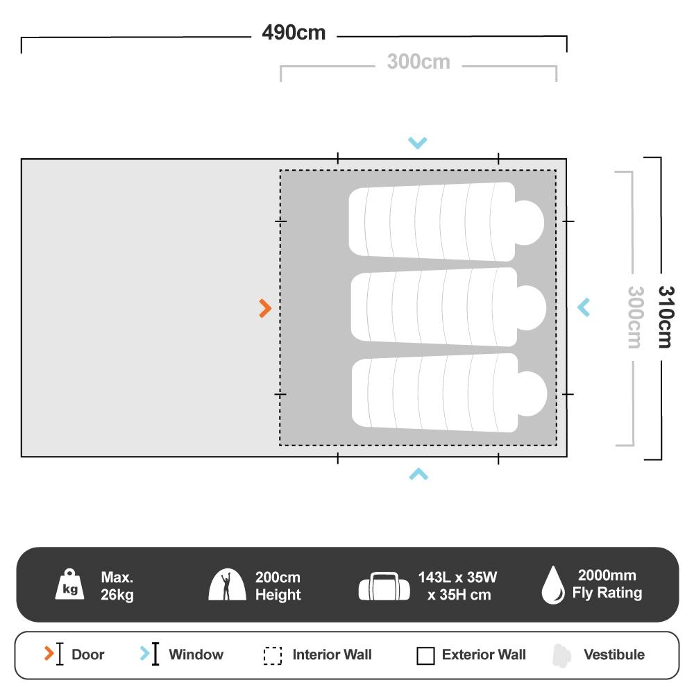 Turbo 300 Tent - Floorplan