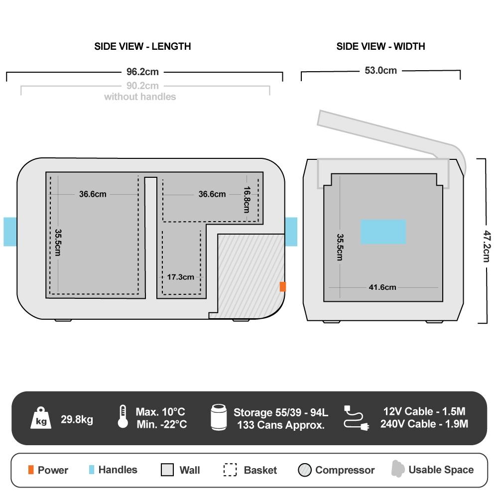CFX3 95DZ Dual Zone Fridge/Freezer 94L  - Floorplan