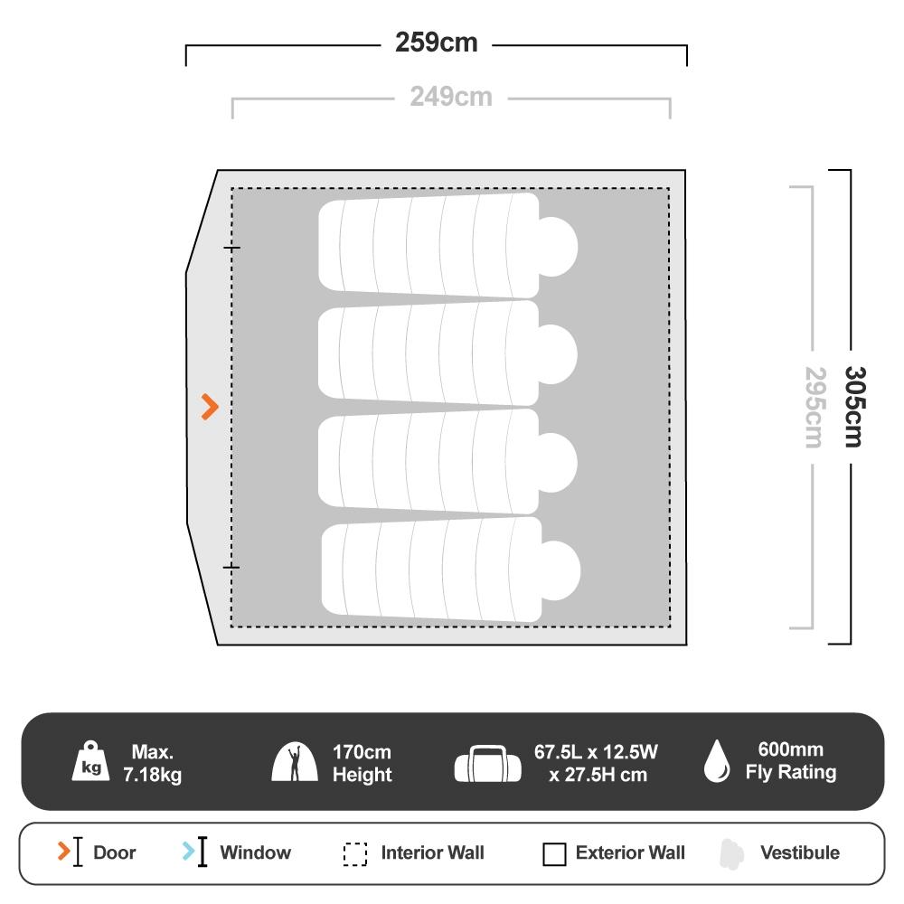 Quick Dome 6P Dome Tent - Floorplan