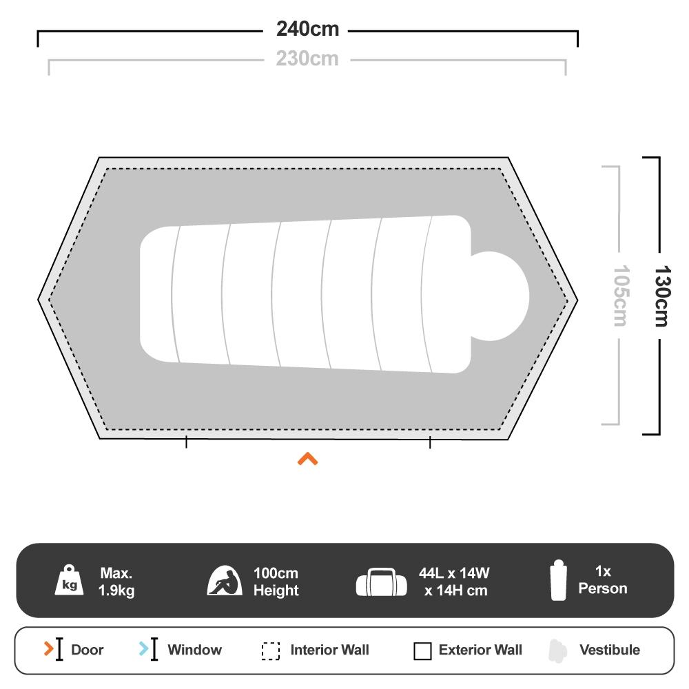 Nomad 1 Hike Tent - Floorplan