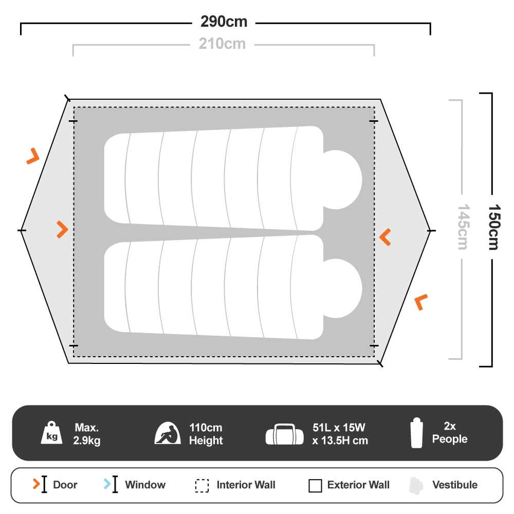 Hiker 2 Dome Tent - Floorplan