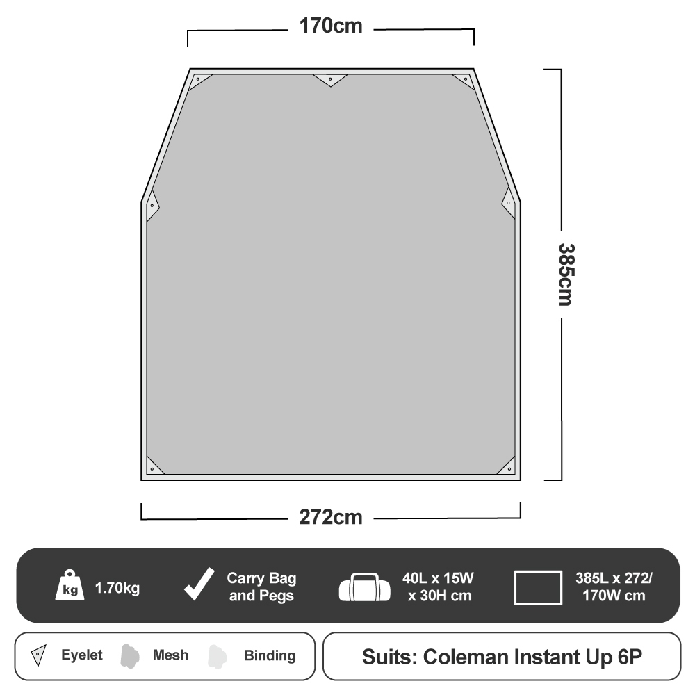 Coleman Ground Mesh Footprint - Instant Up 6P Floorplan