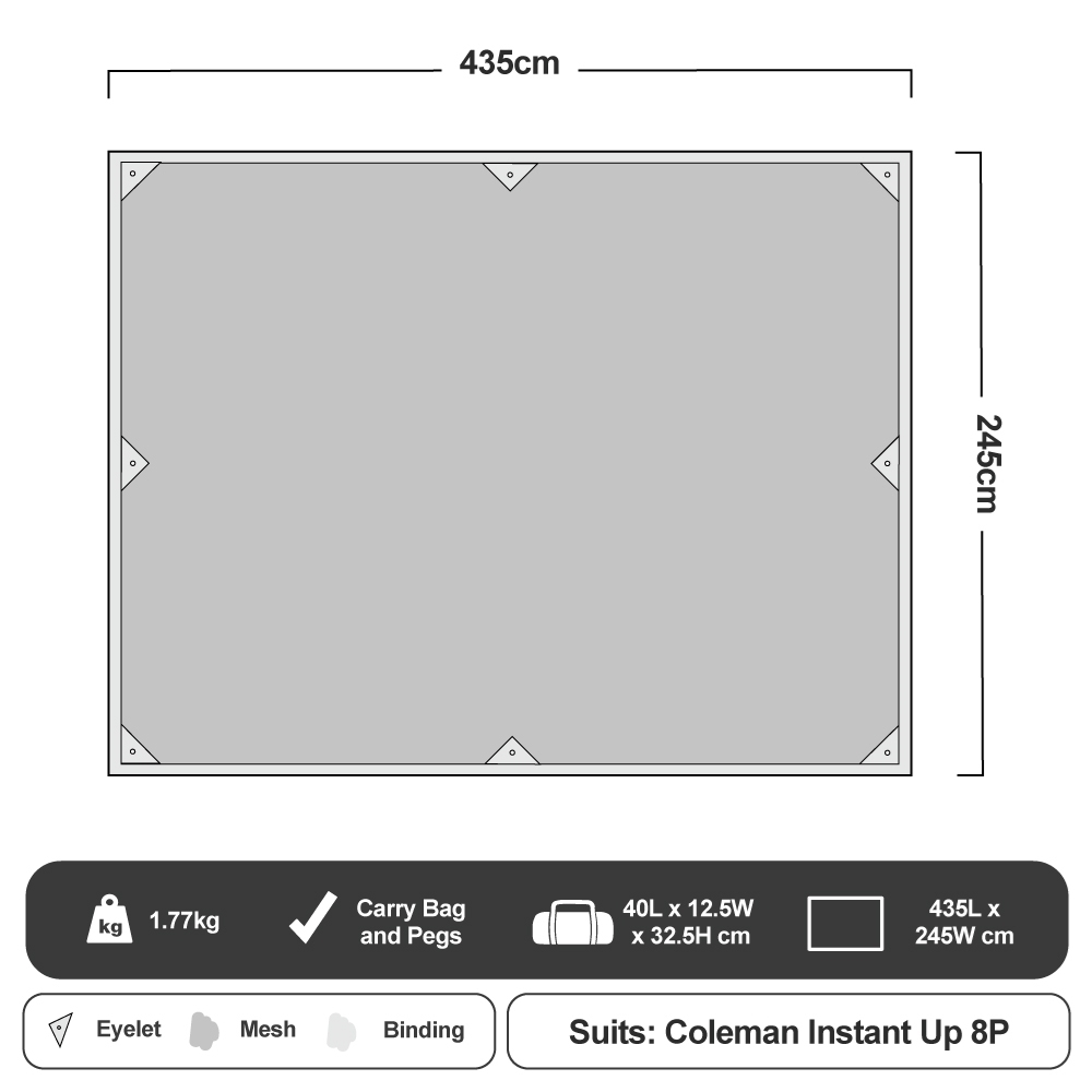 Coleman Ground Mesh Footprint - Instant Up 8P Floorplan