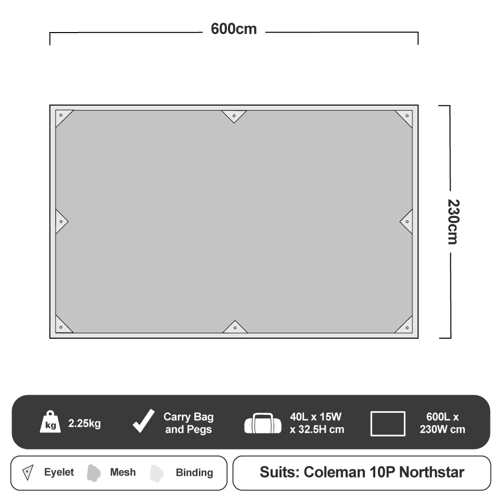 Coleman Ground Mesh Footprint - Instant Up 10P Northstar Floorplan