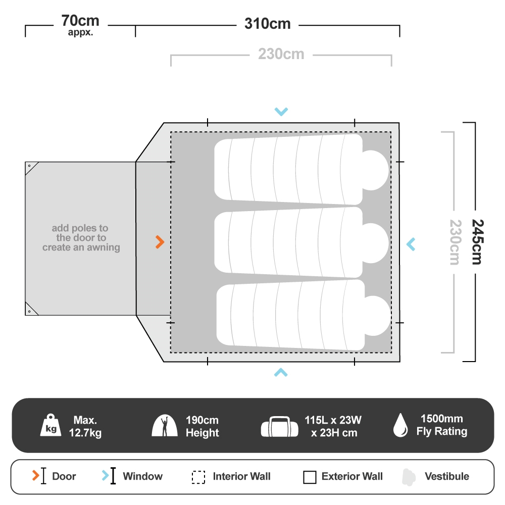 Instant Up Northern 4P Tent - Floorplan