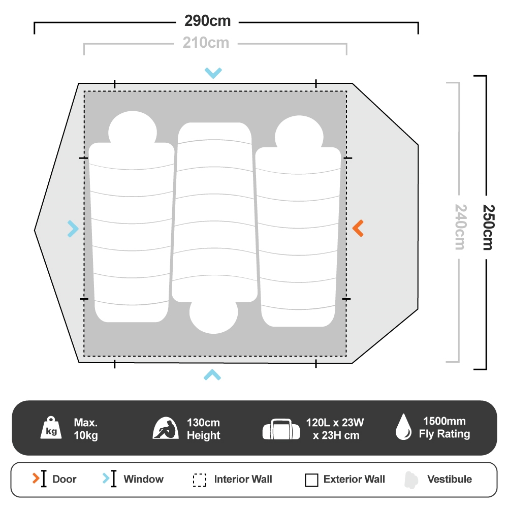 Instant Swagger 3P Tent - Floorplan