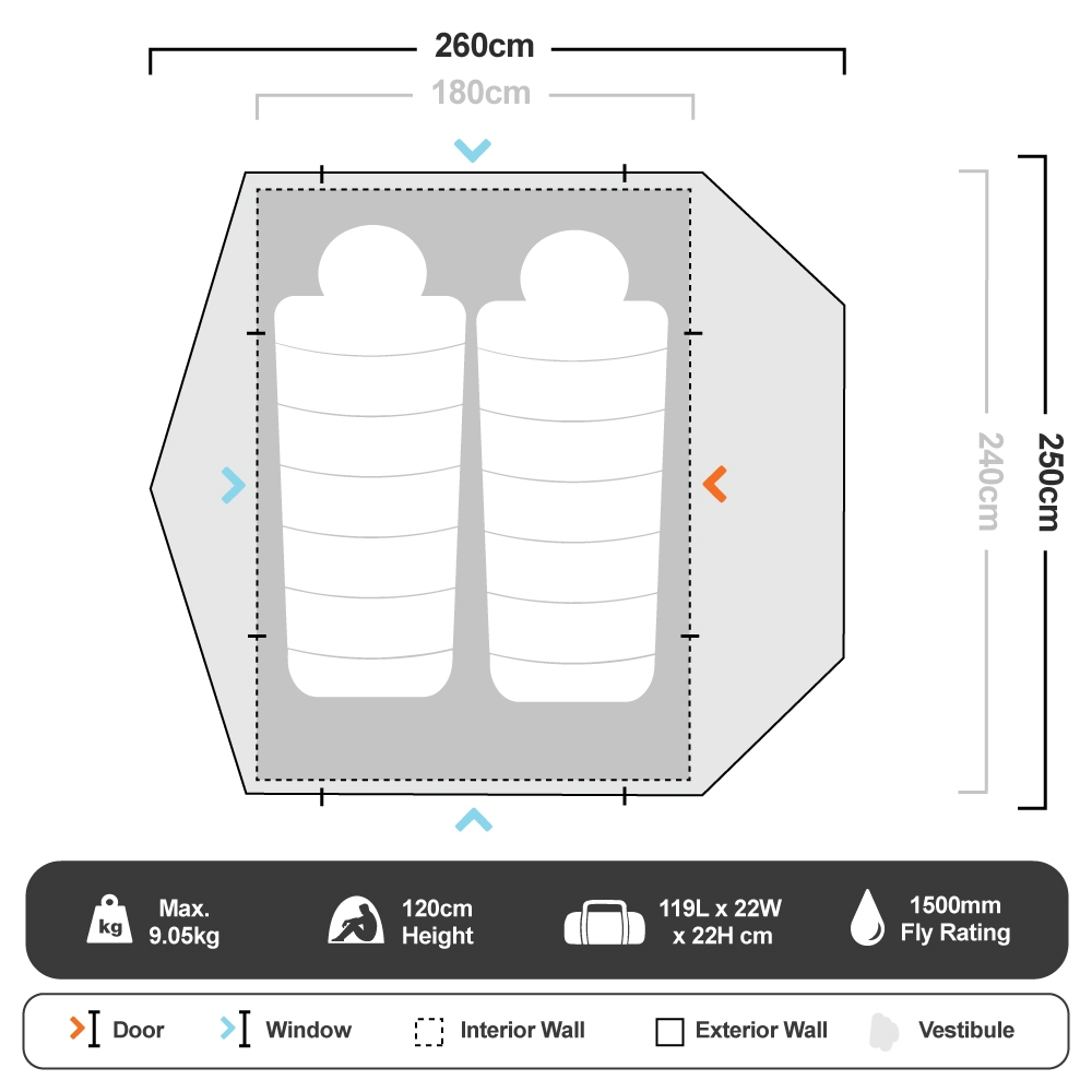 Instant Swagger 2P Tent - Floorplan