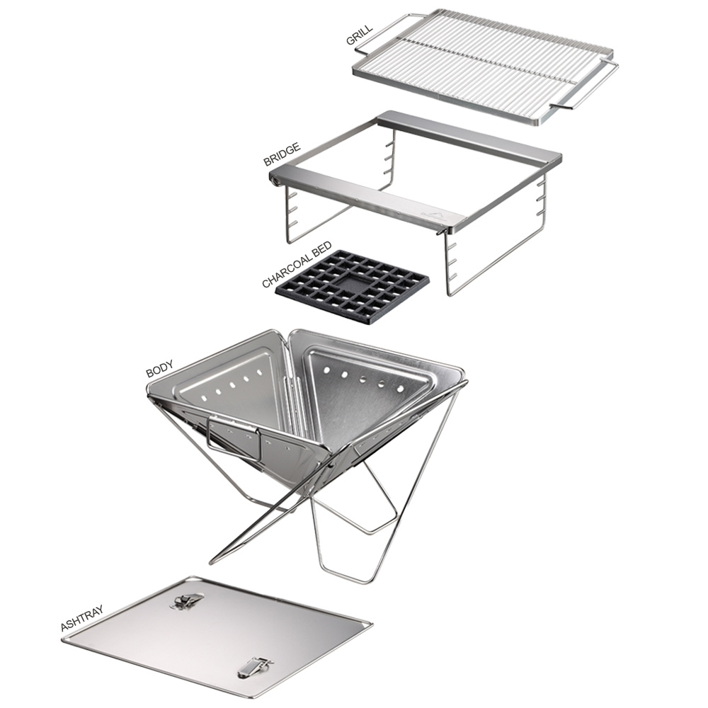 Camping Moon BBQ Stainless Steel Portable Folding Fire Pit - Exploded view