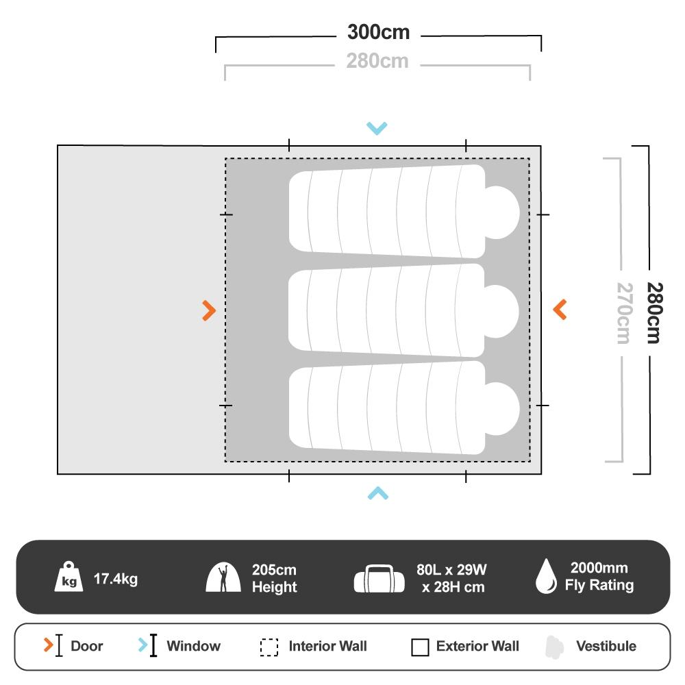 Weekender Cabin Dome Tent - Floorplan