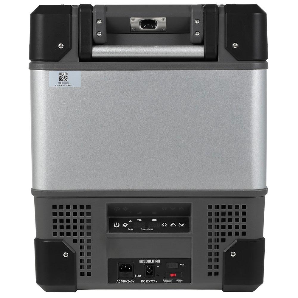myCOOLMANCCP69DZ Dual Zone Portable Fridge/Freezer 69L - Control panel, power inlet and USB outlet