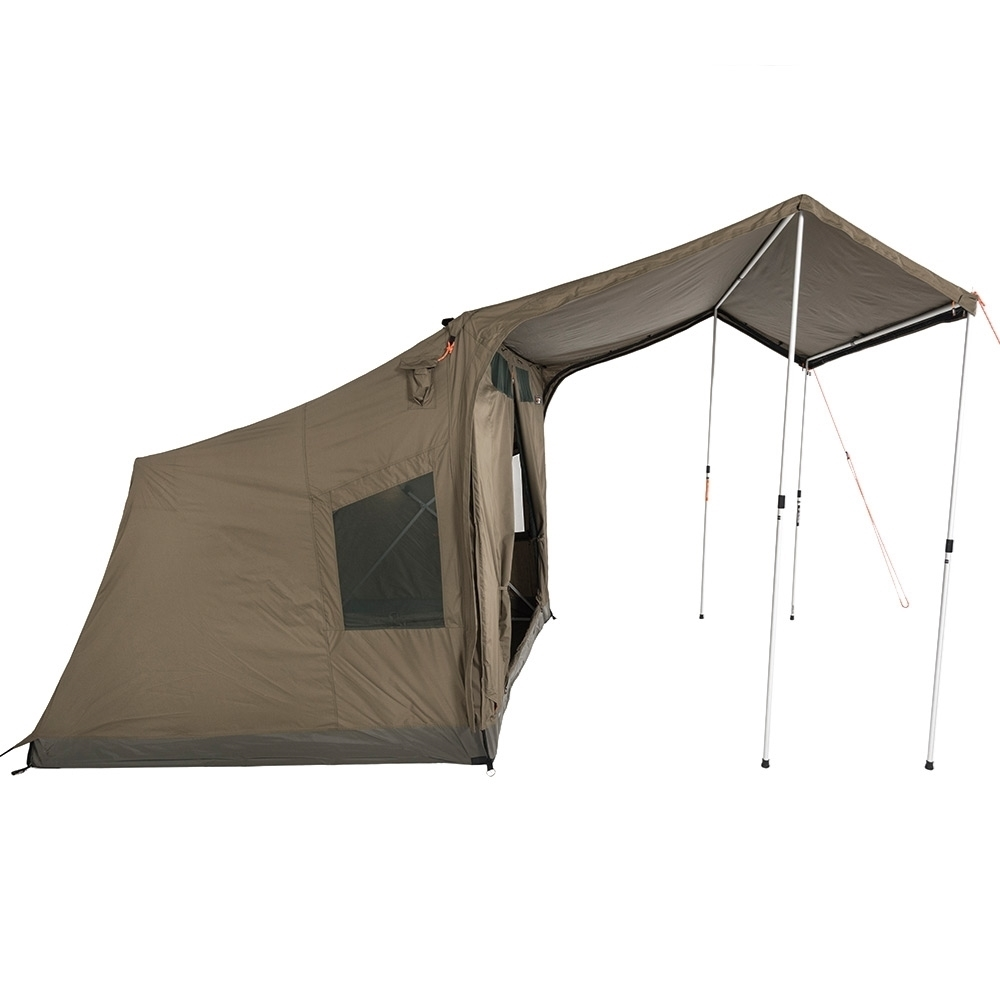 Oztent RV-3 Plus Canvas Touring Tent - More waterproof with curved zip for RV Plus Peaked Side Panels