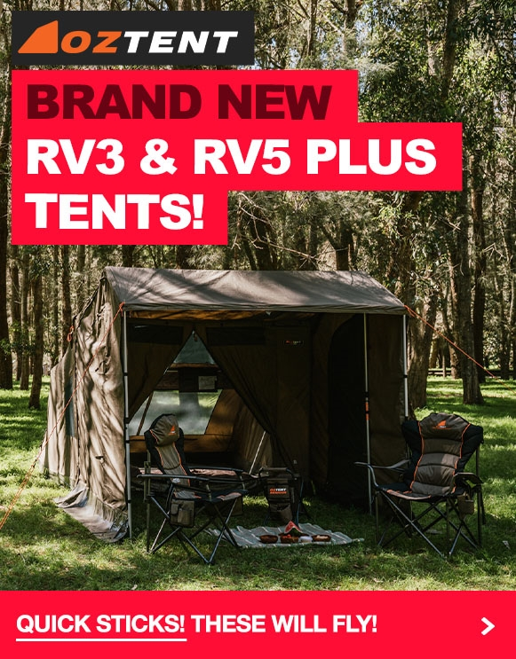 Brand new Oztent RV3 & RV5 Plus Touring Tents!