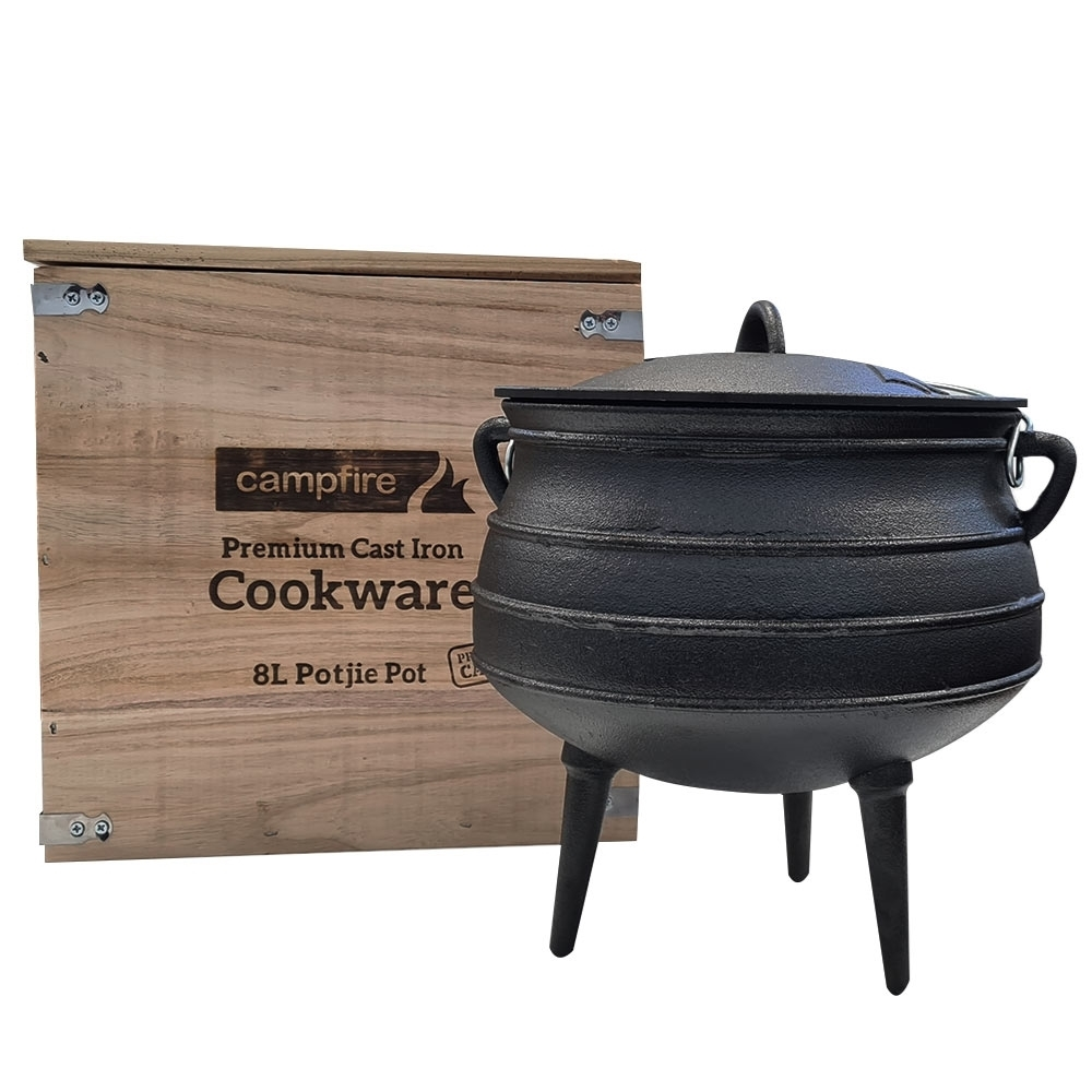 Campfire 8L Cast Iron Potjie Pot - With Box