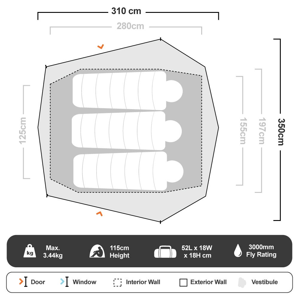 Howqua 3 Hiking Tent - Floorplan