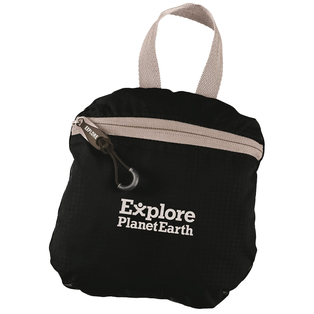 Explore Planet Earth Comet Packable 18L Backpack Black - Packs into a small bag