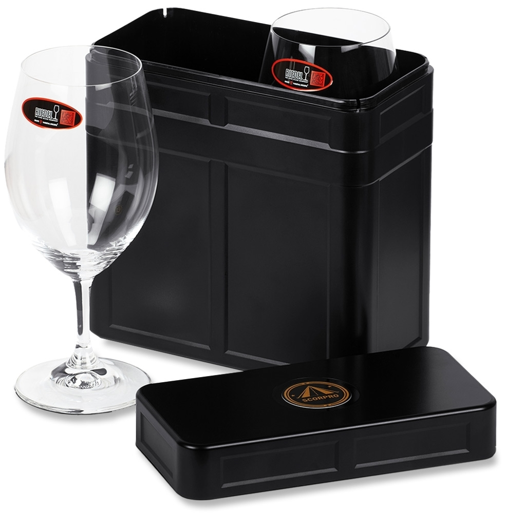 Scorpro Explorer Box with 2 RIEDEL Ouverture Magnum Wine Glasses