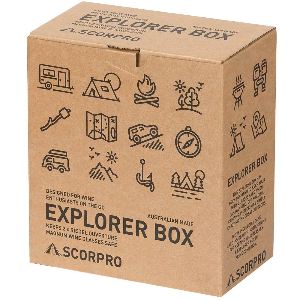 Scorpro Explorer Box with 2 RIEDEL Ouverture Magnum Wine Glasses - Box