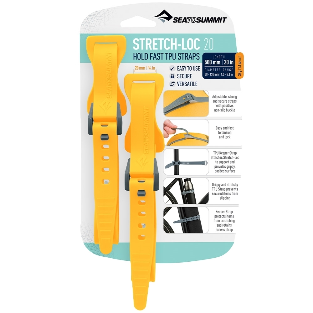 Sea to Summit Stretch-Loc 20 TPU Straps 20mm x 500mm 2 Pack - Yellow Packaging