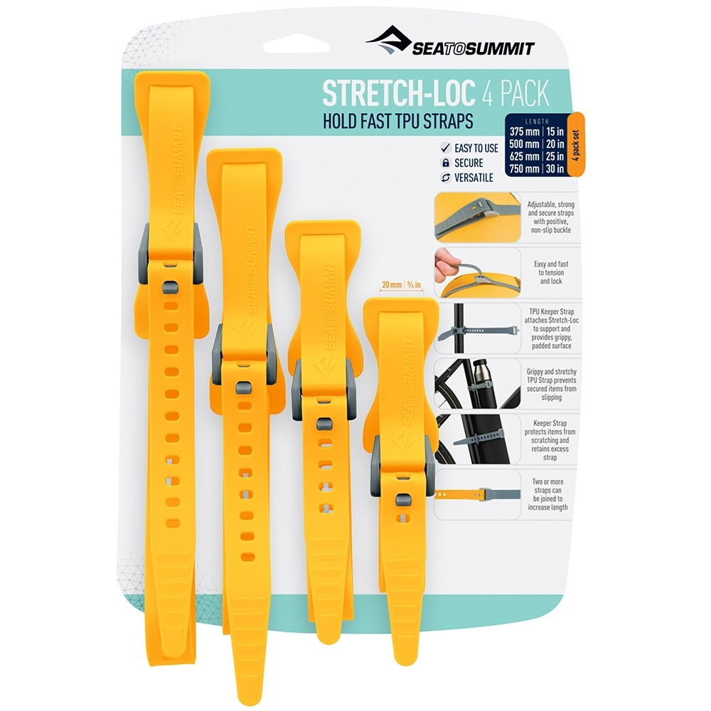 Sea to Summit Stretch-Loc All Sizes TPU Straps 20mm 4 Pack - Yellow Packaging