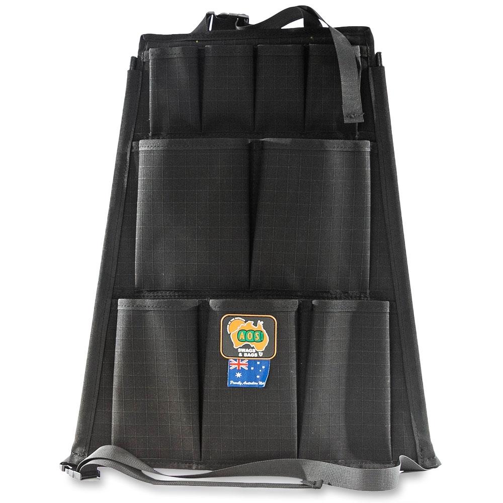 AOS Canvas 12 Pocket Seat Organiser Black