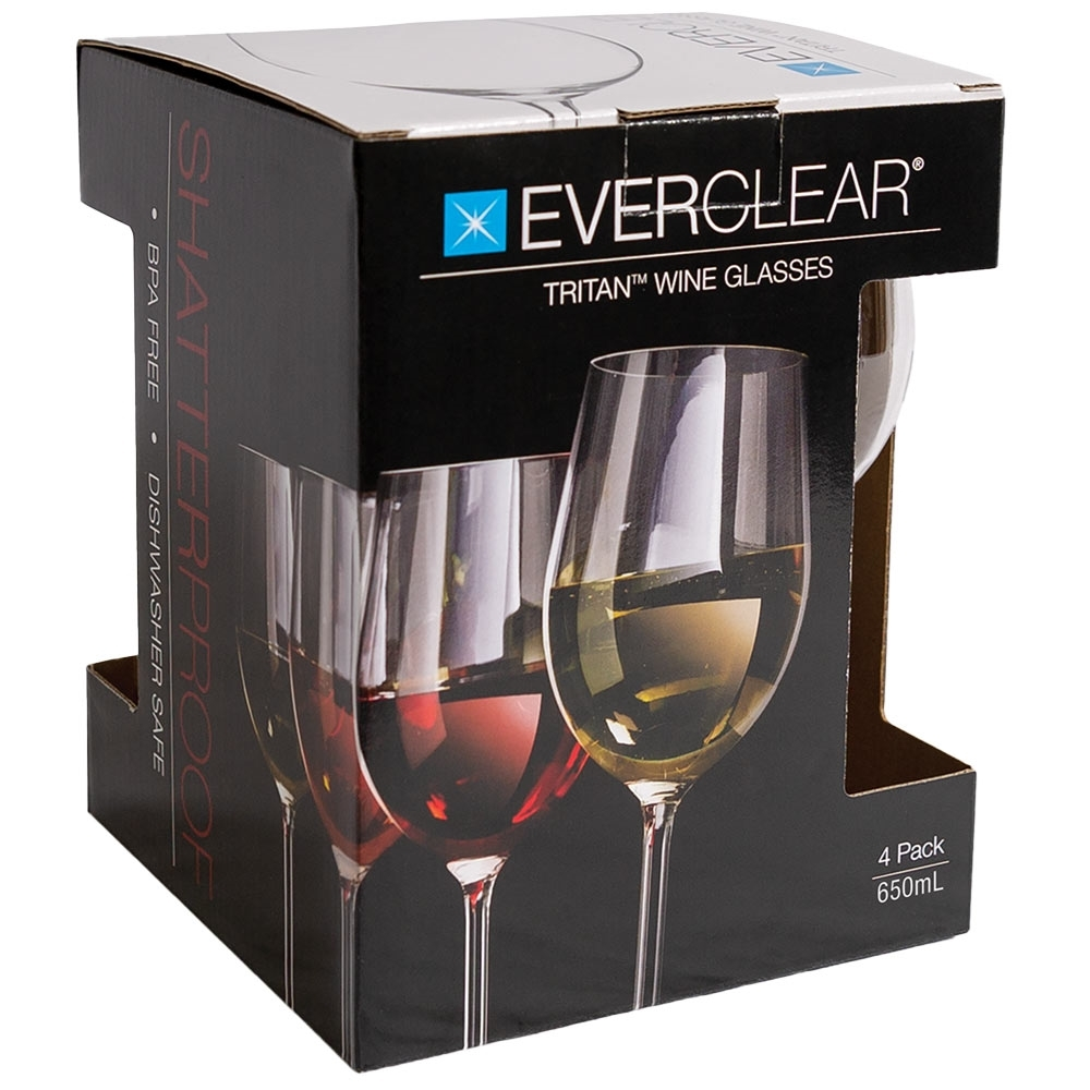 Everclear Tritan Wine Glass 655ml 4Pk - Packaging