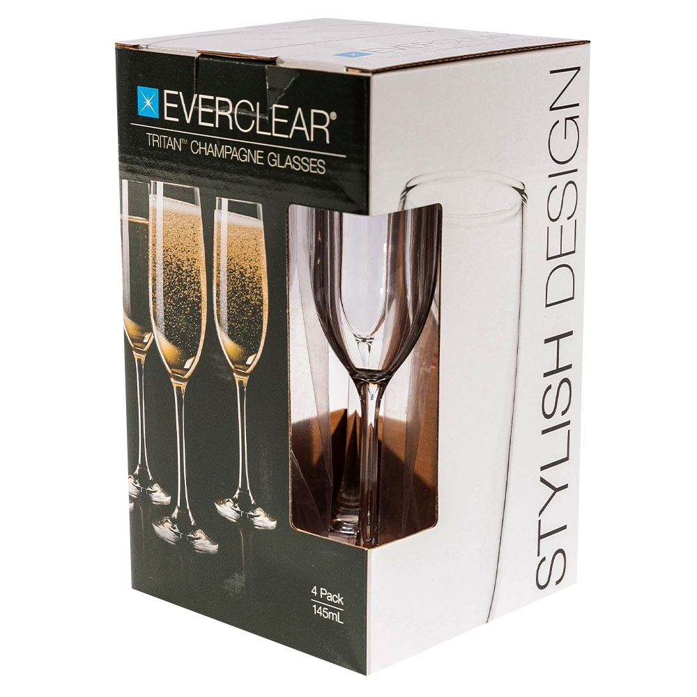 Everclear Tritan Champagne Flute 145ml 4Pk - Packaging