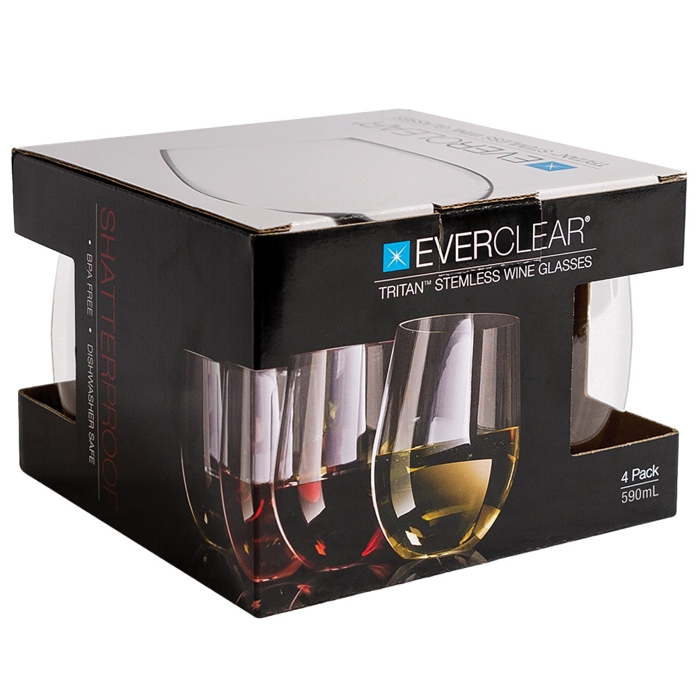 Everclear Tritan Stemless Wine Glass 590ml 4Pk - Packaging