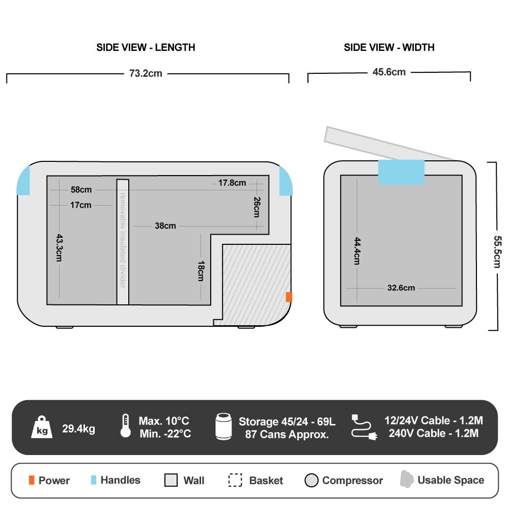 CCP69DZ Dual Zone Portable Fridge/Freezer 69L - Floorplan