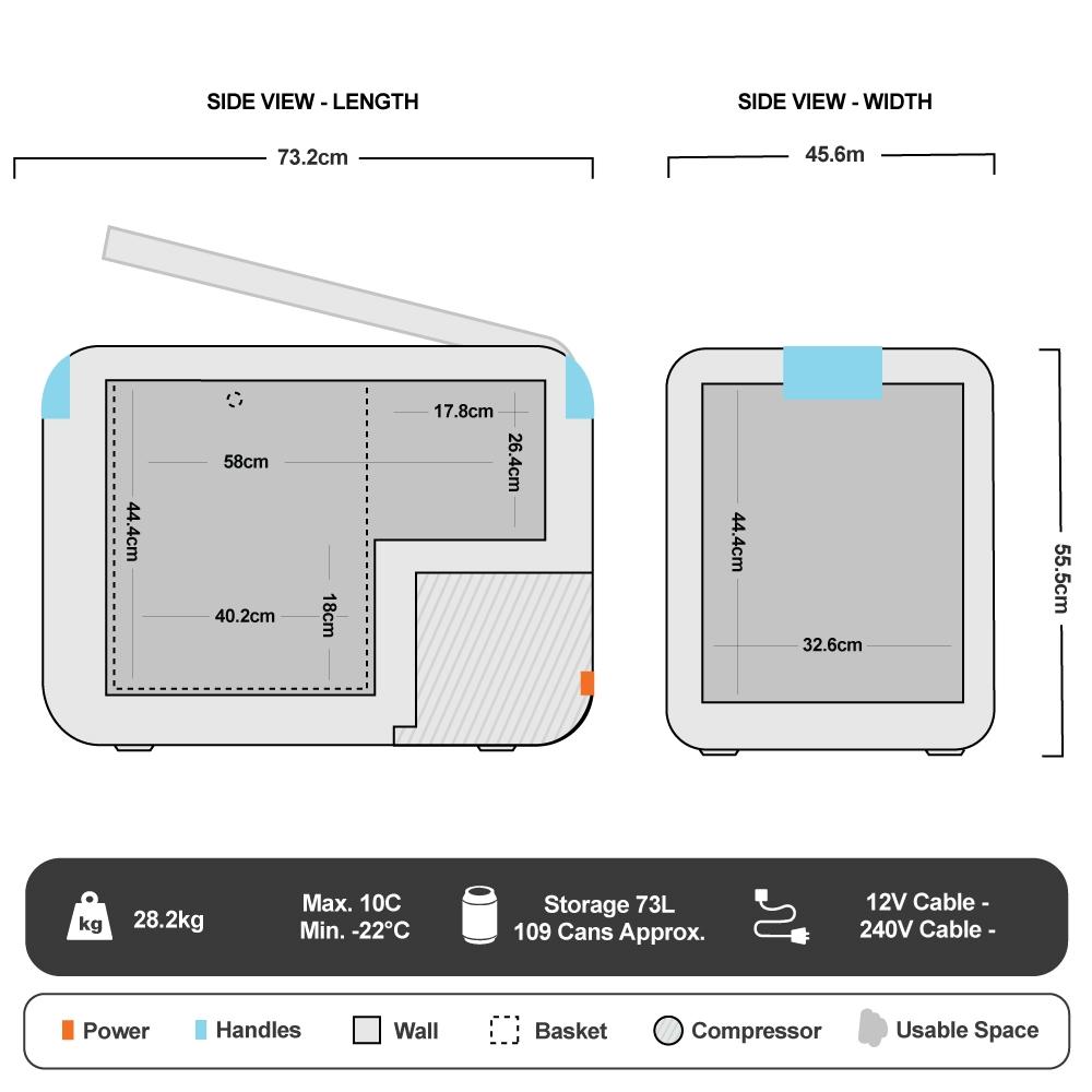 CCP73 Portable Fridge/Freezer 73L - Floorplan