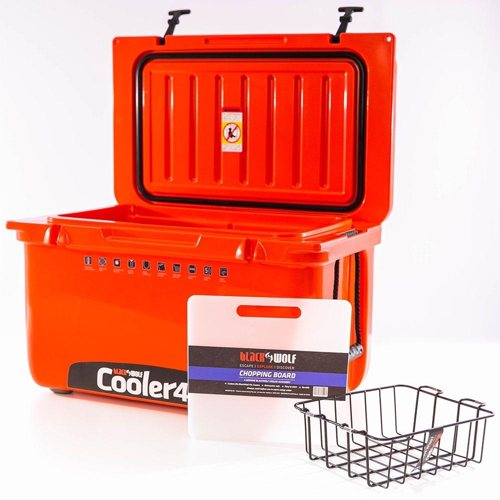 Black Wolf 45 Hardside Cooler - Includes basket and chopping board/divider
