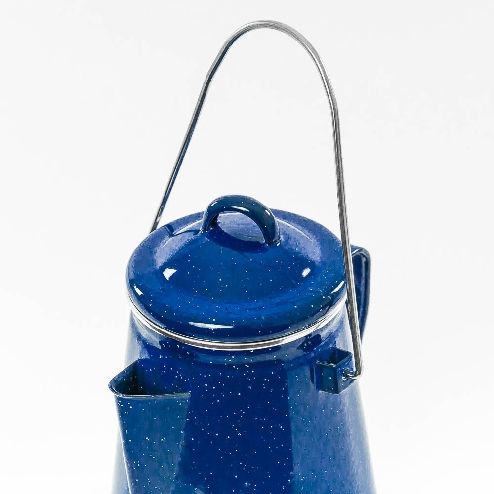 Campfire Enamel Coffee Pot 2L Blue - Strong handle for easy carrying