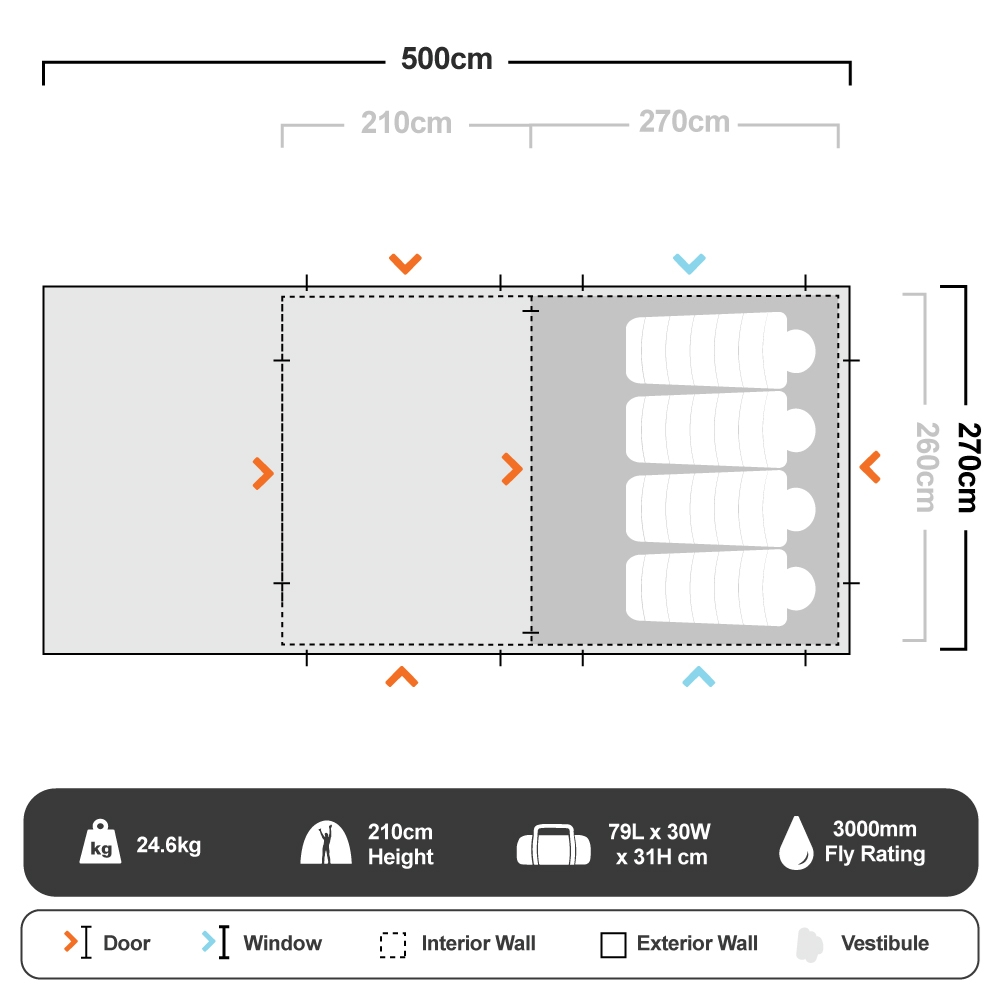 Bedarra Family 2 Room Dome Tent - Floorplan