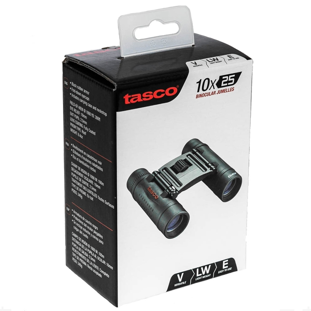Tasco Essentials 10x25 Compact Binoculars - Packaging