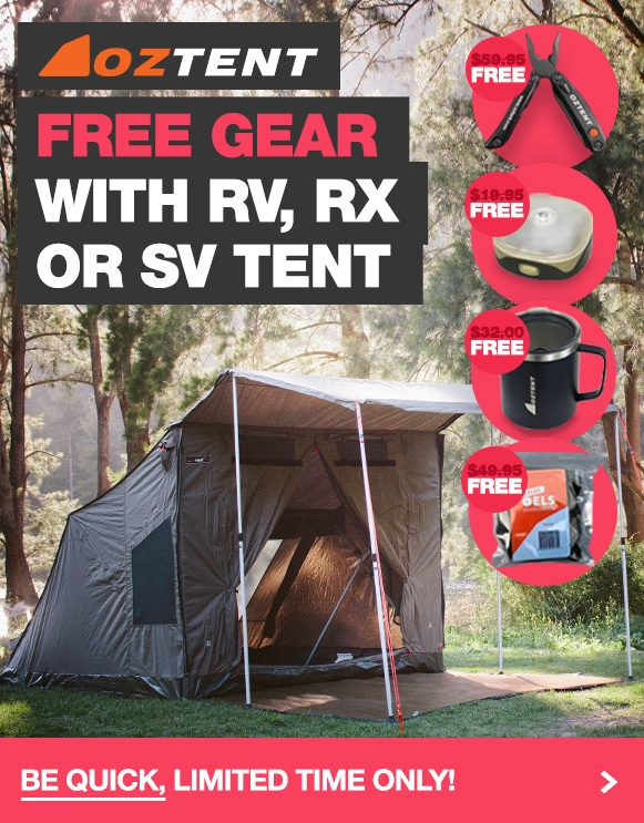 Buy an Oztent RV, RX or SV and a stack of free gear worth over $160!