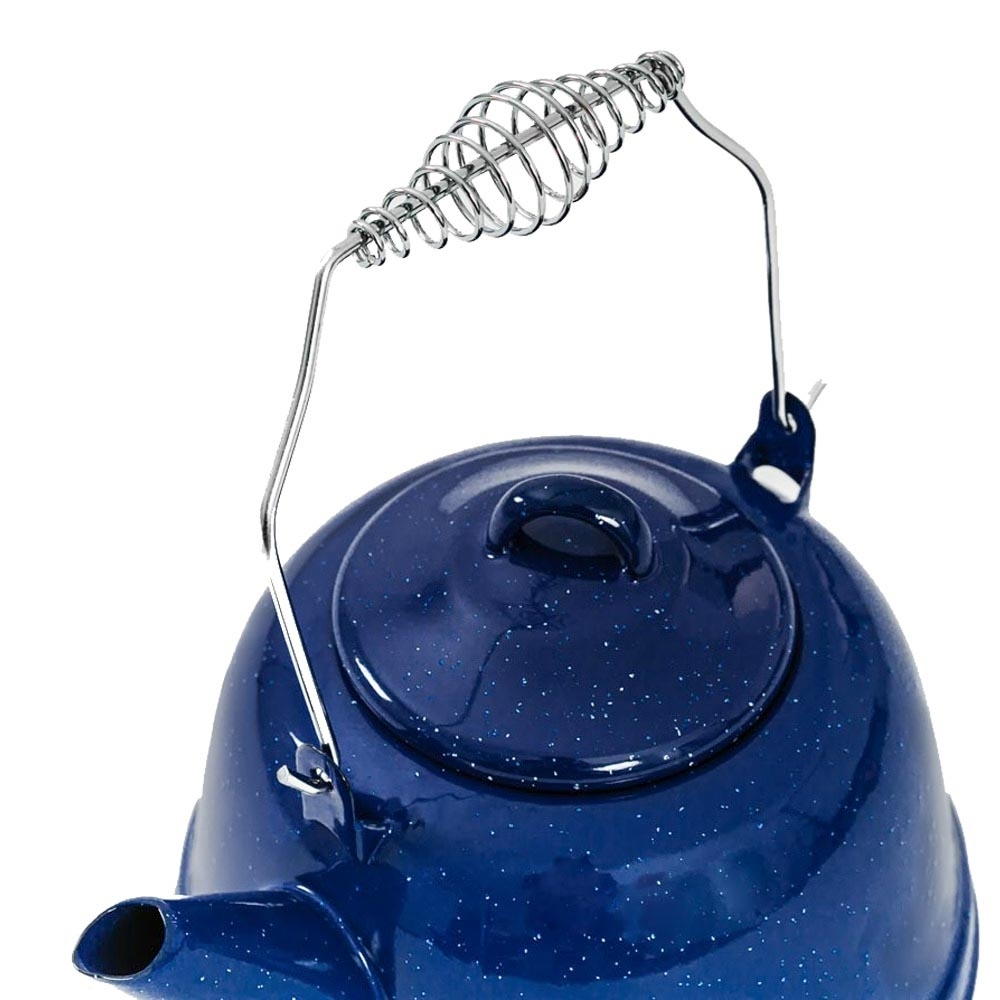 Companion Enamel Kettle - Folding carry handle with spring support