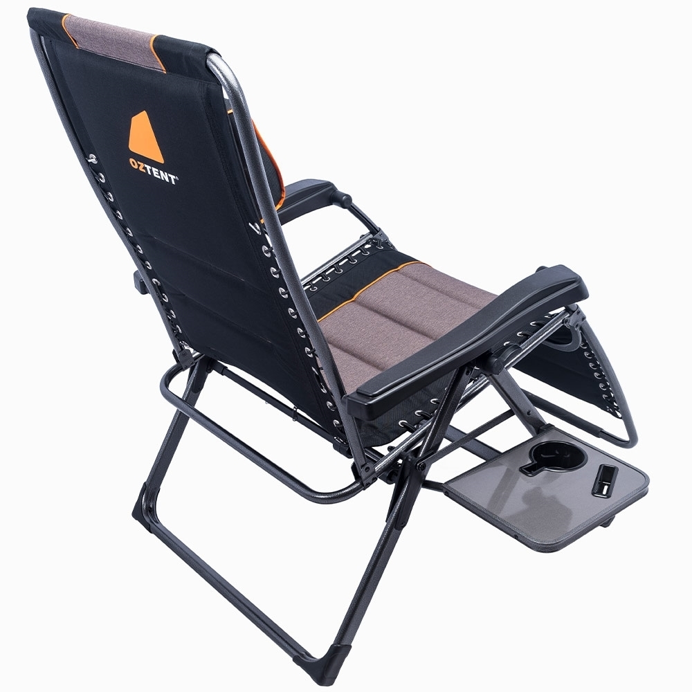 Oztent King Komodo HotSpot Chair - Pull-out side table incorporates recessed drink and phone holders