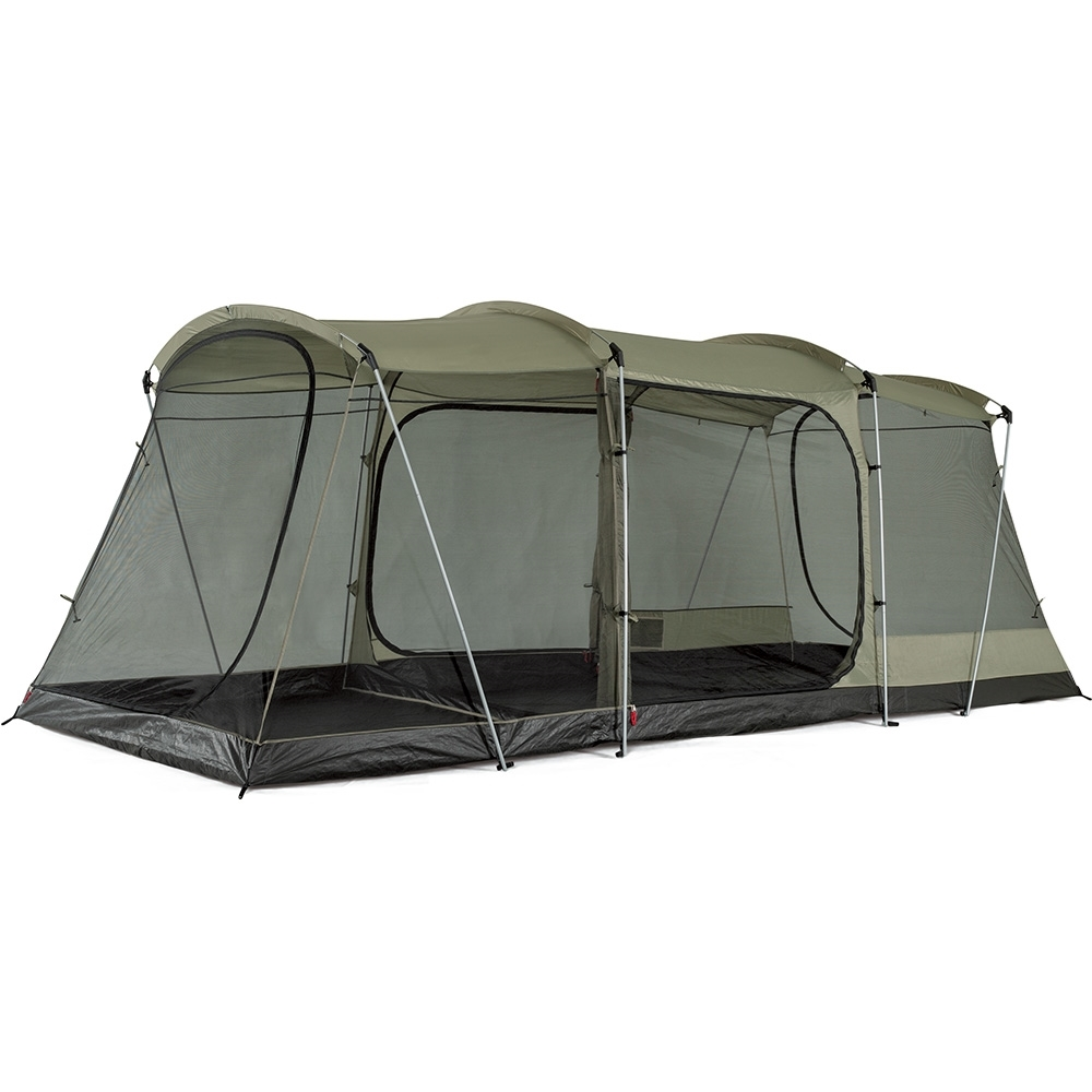 OZtrail Bungalow 9 Person Dome Tent - Versatile floor plan including a central room with 2 large screen rooms either side