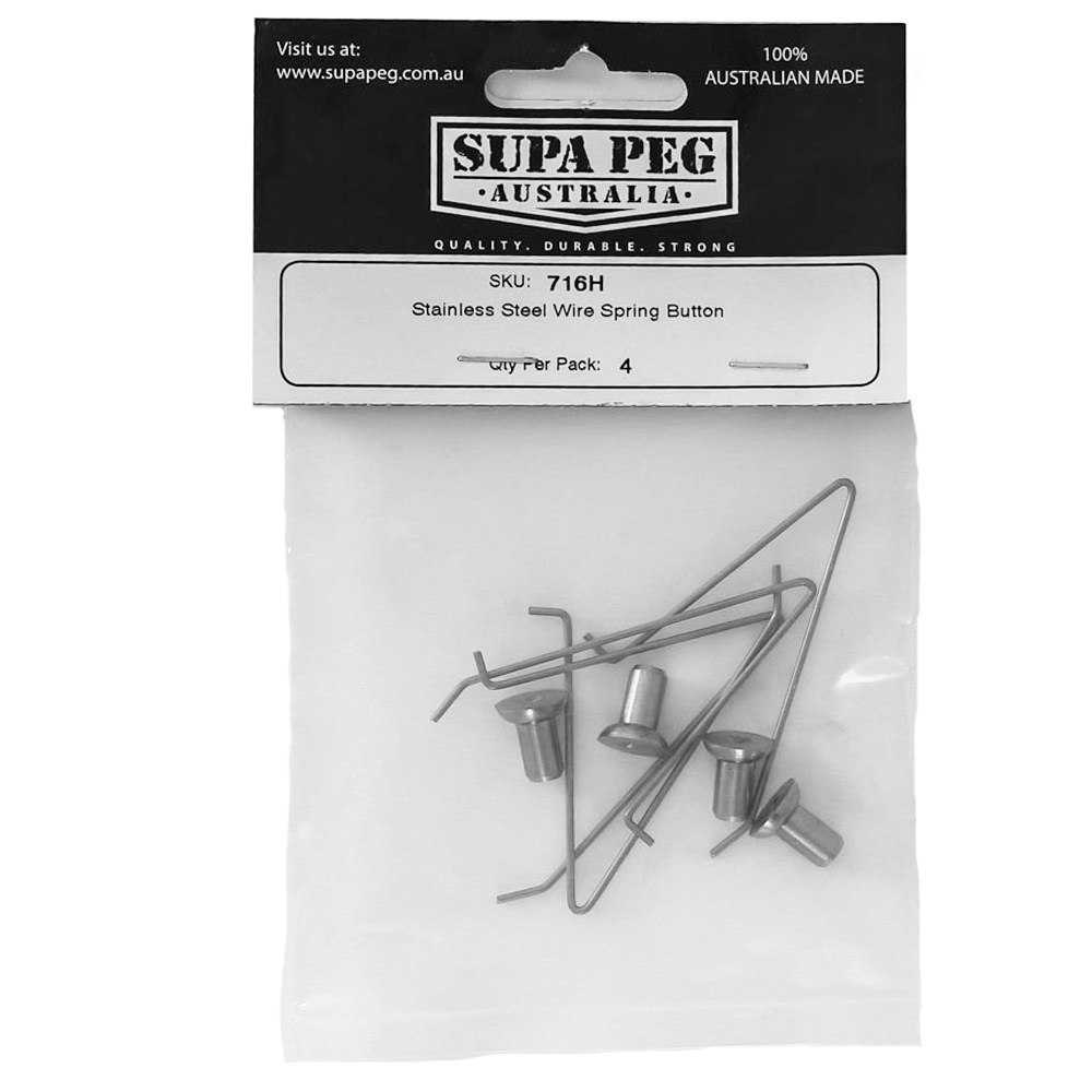 Supa Peg Stainless Steel Wire Spring Button 4 Pack - Packaging