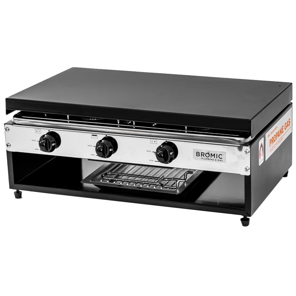Bromic Camper-Lido Junior Deluxe 2-Burner with Grill - Stainless steel body with painted base and hinged lid